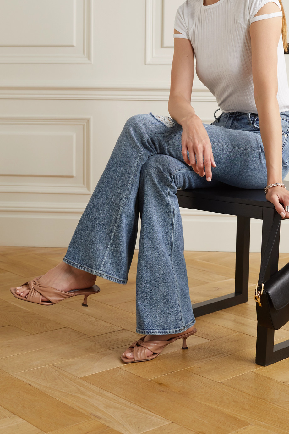 Jimmy Choo Avenue 50 knotted leather mules