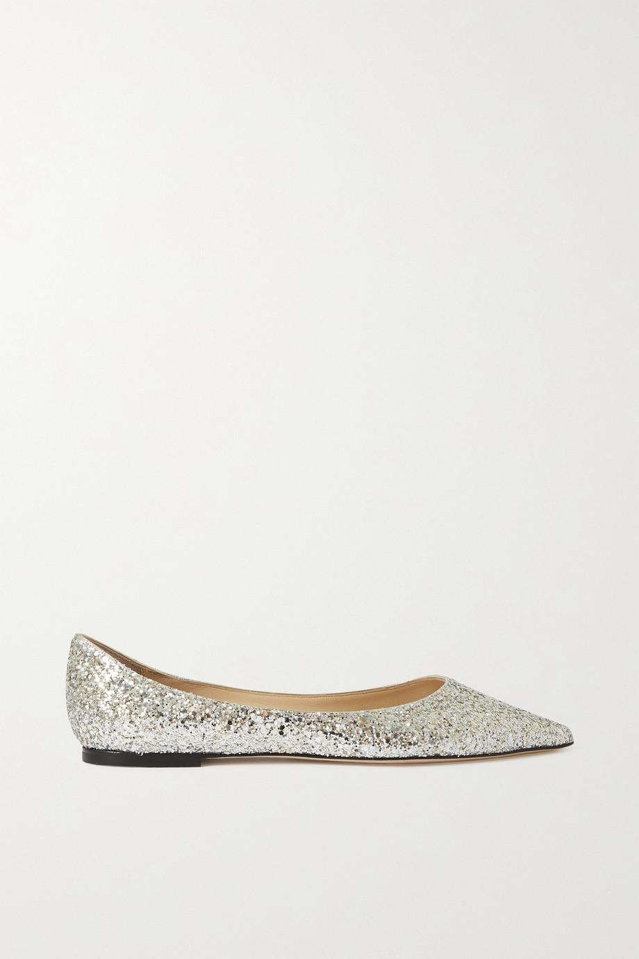 Jimmy Choo Love glittered leather point-toe flats