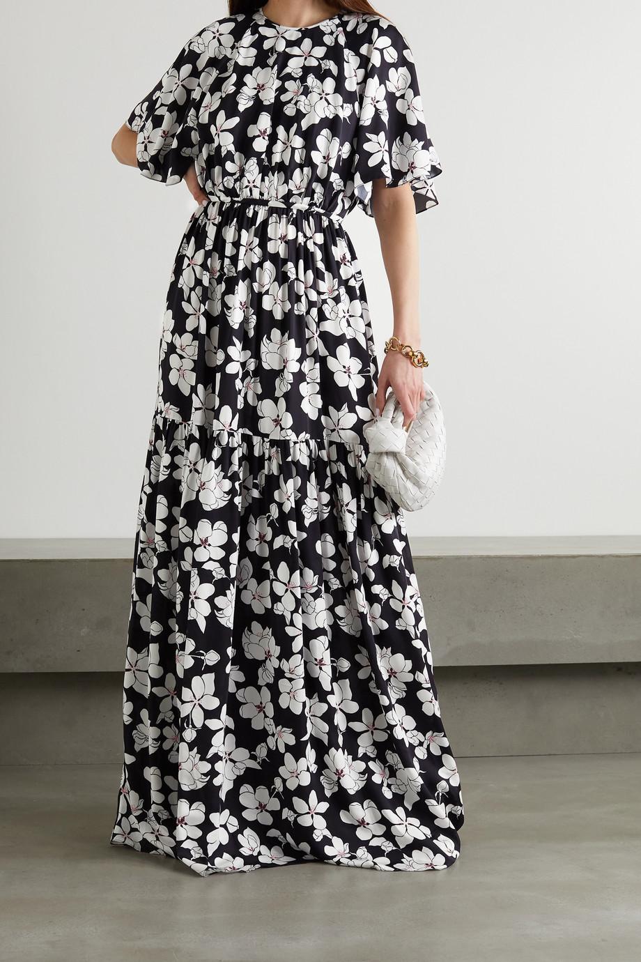 Carolina Herrera Tiered floral-print silk gown