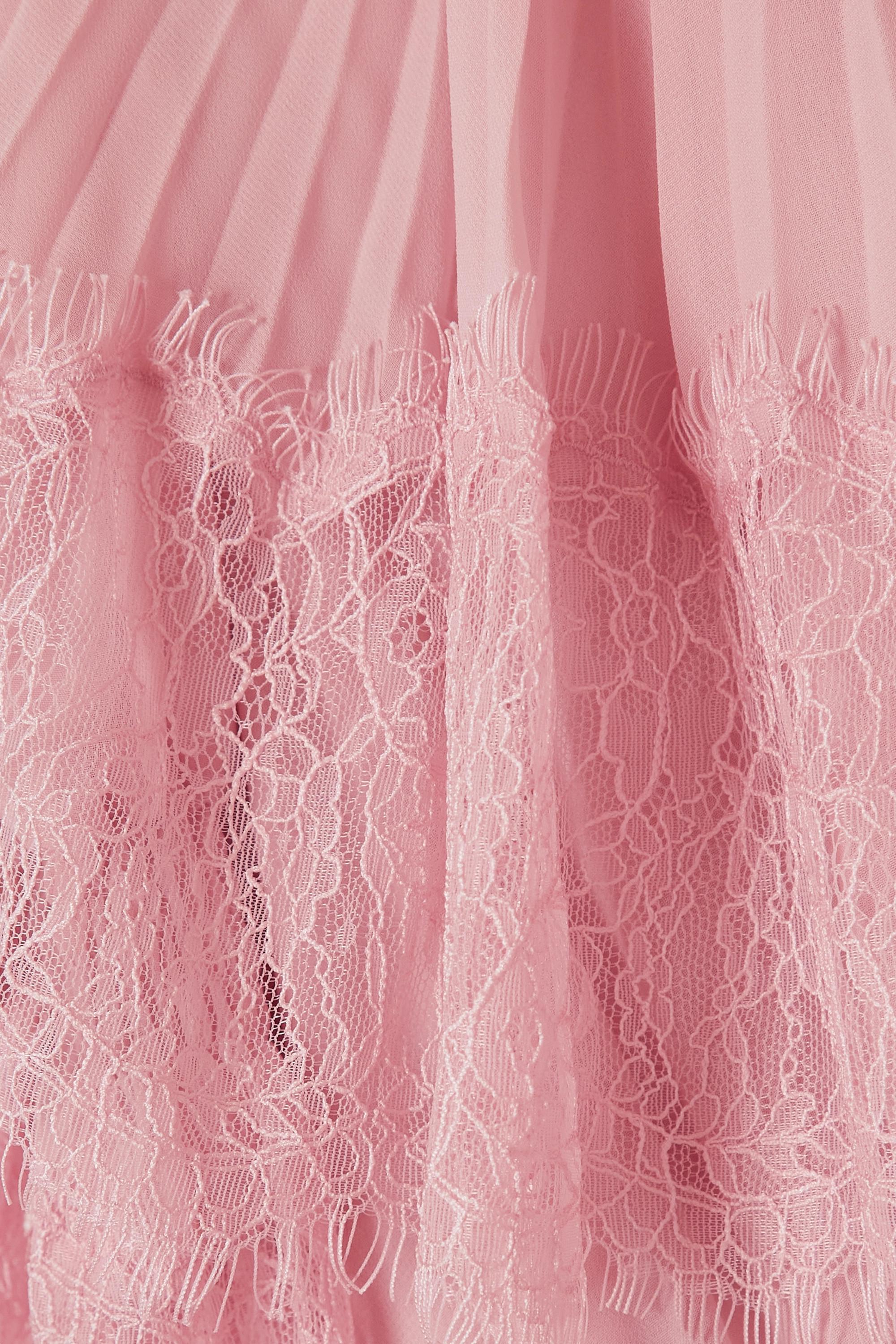 Self-Portrait Lace-trimmed pleated chiffon maxi dress