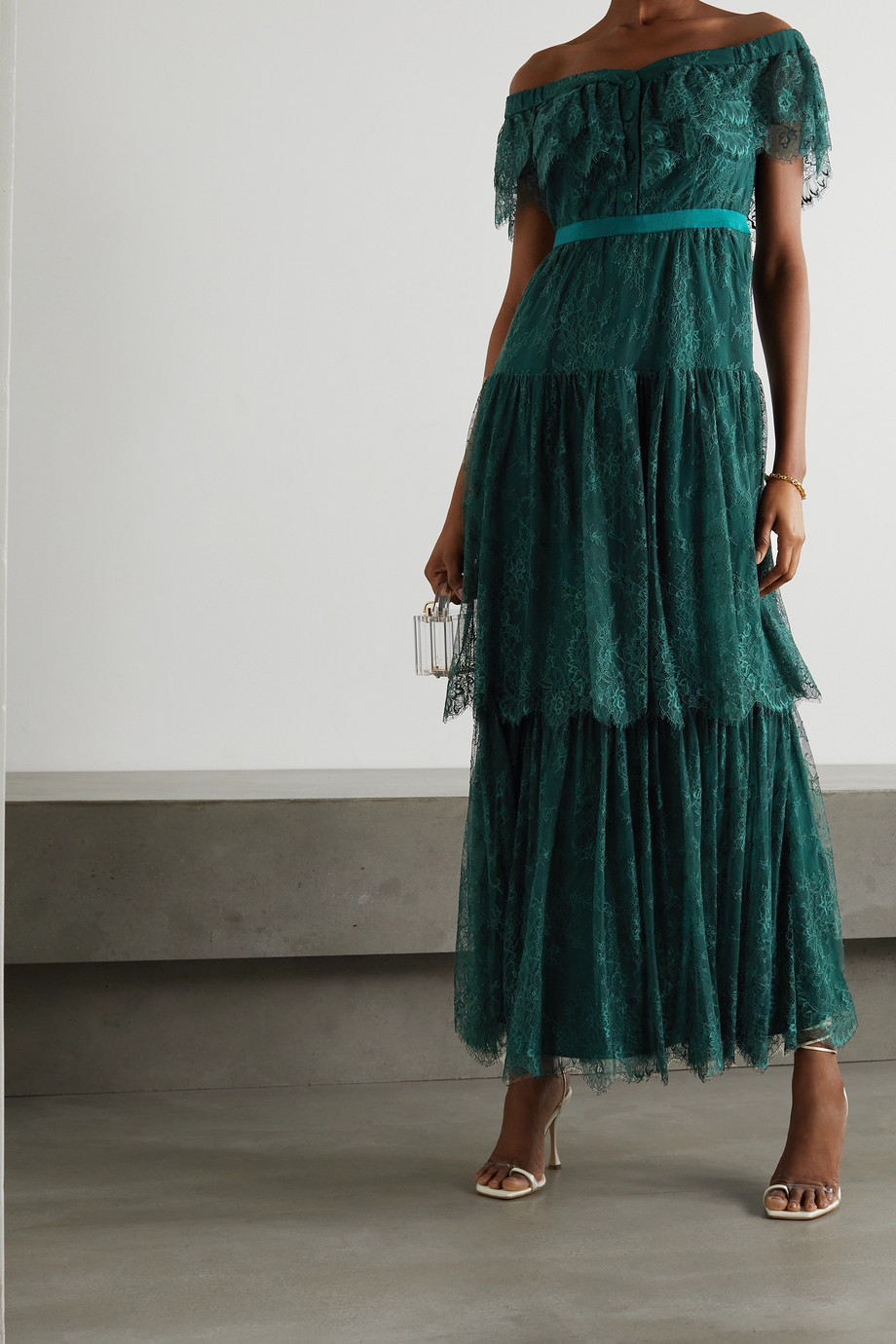 Self-Portrait Off-the-shoulder tiered lace maxi dress