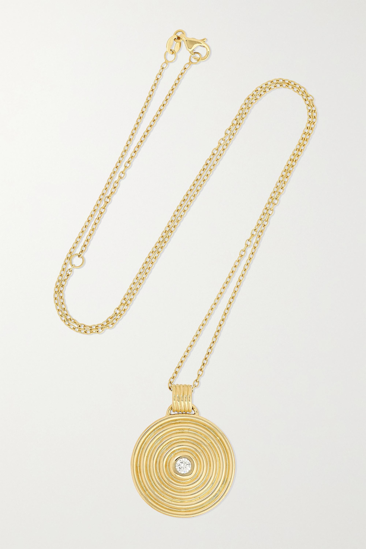 ALMASIKA Universum Medallion Kette aus 18 Karat Gold mit Diamant