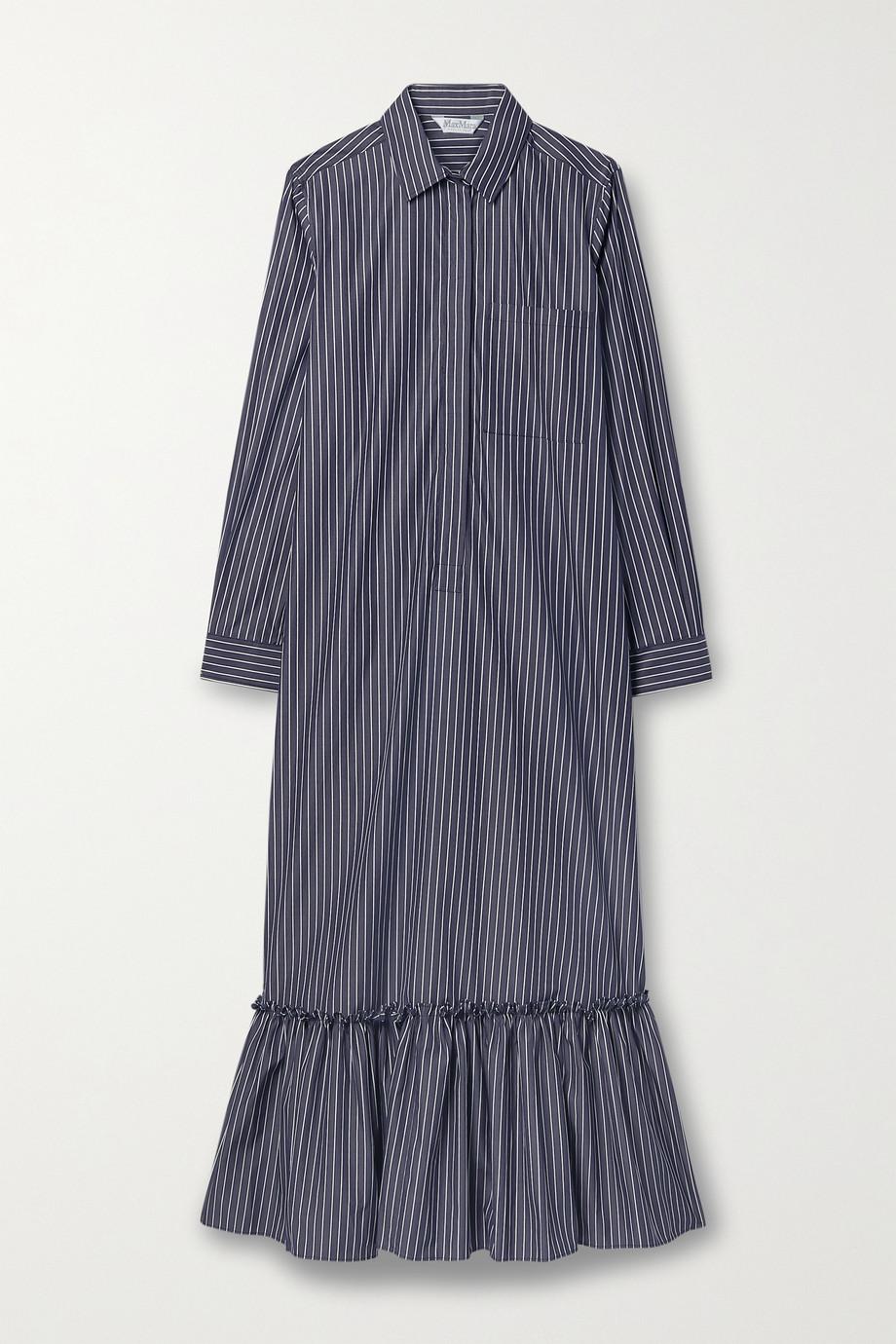 Max Mara Hemdblusenkleid aus Baumwollpopeline mit Nadelstreifen