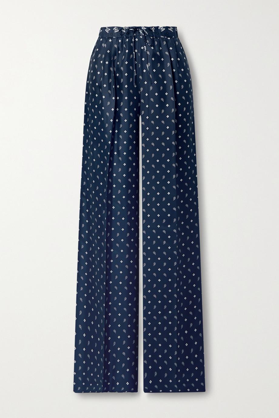 Max Mara Bello Hose mit weitem Bein aus Seiden-Twill mit Paisley-Print