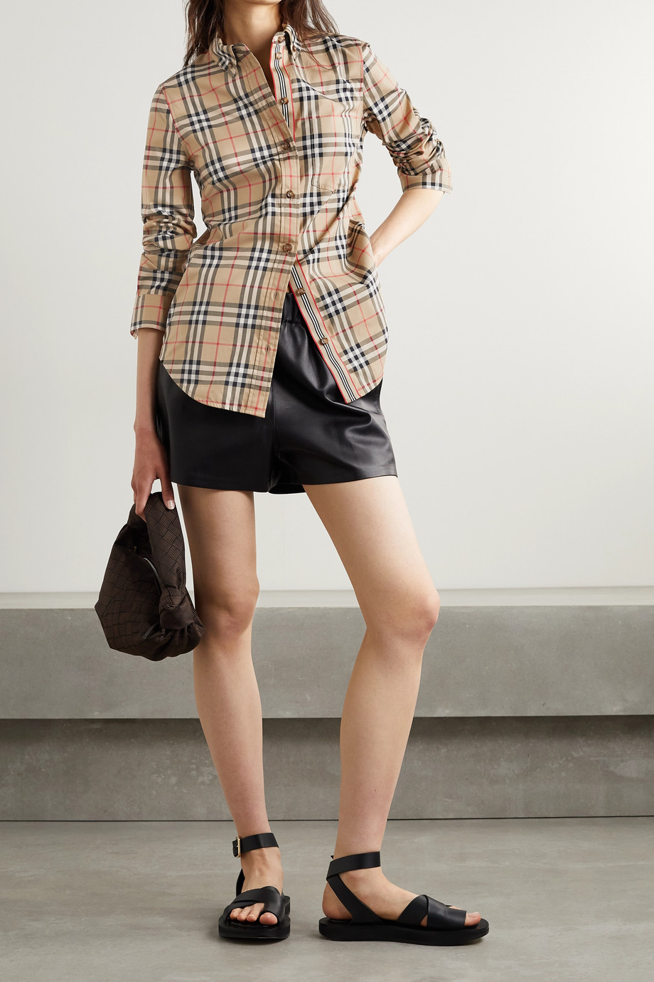 Burberry Checked cotton-blend shirt