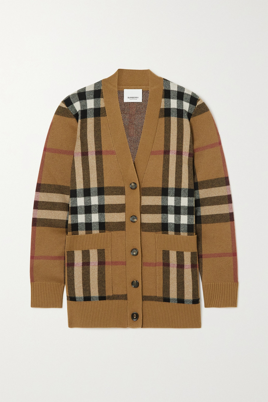 Burberry Checked wool and cashmere-blend cardigan