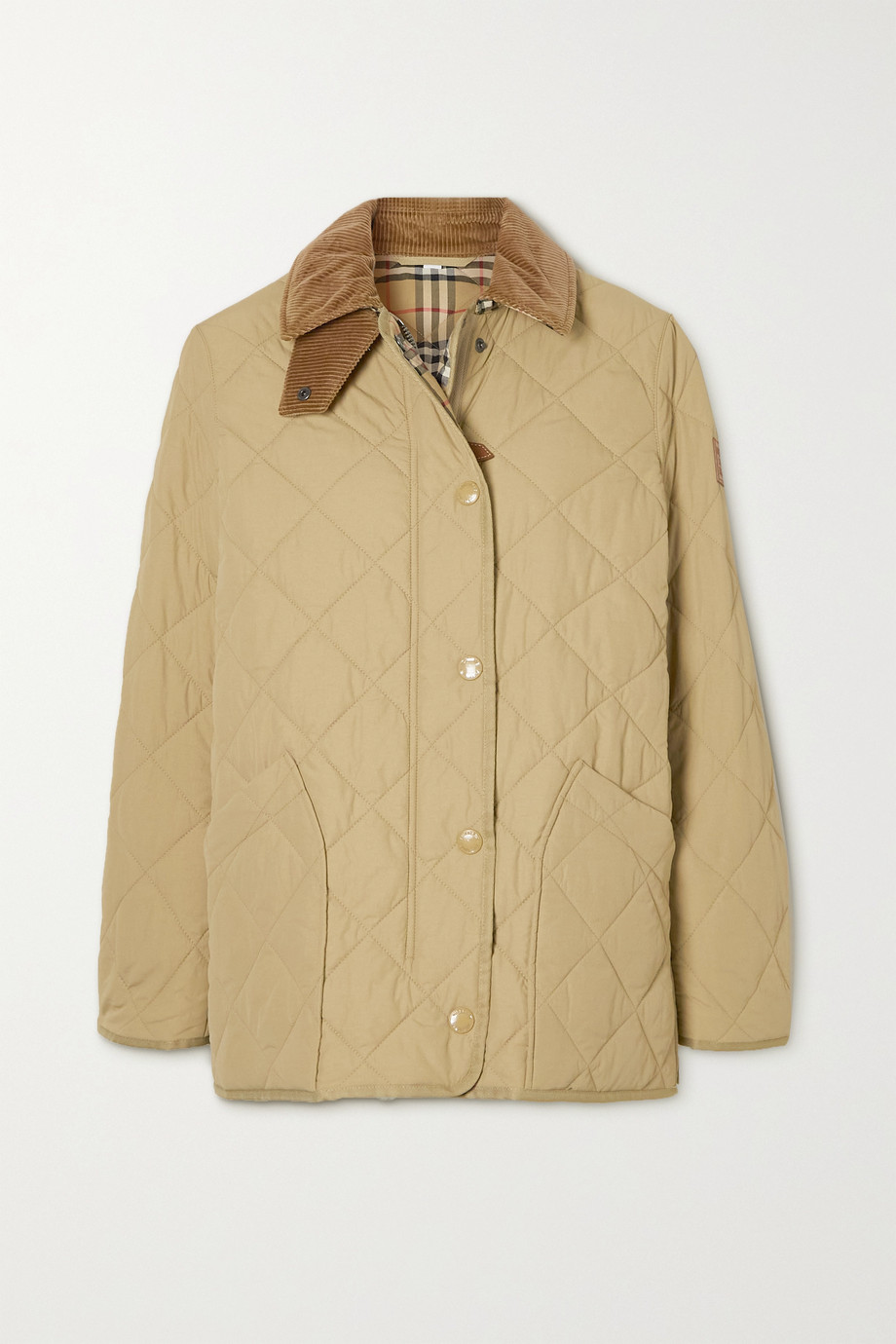 Burberry Corduroy and leather-trimmed quilted shell jacket