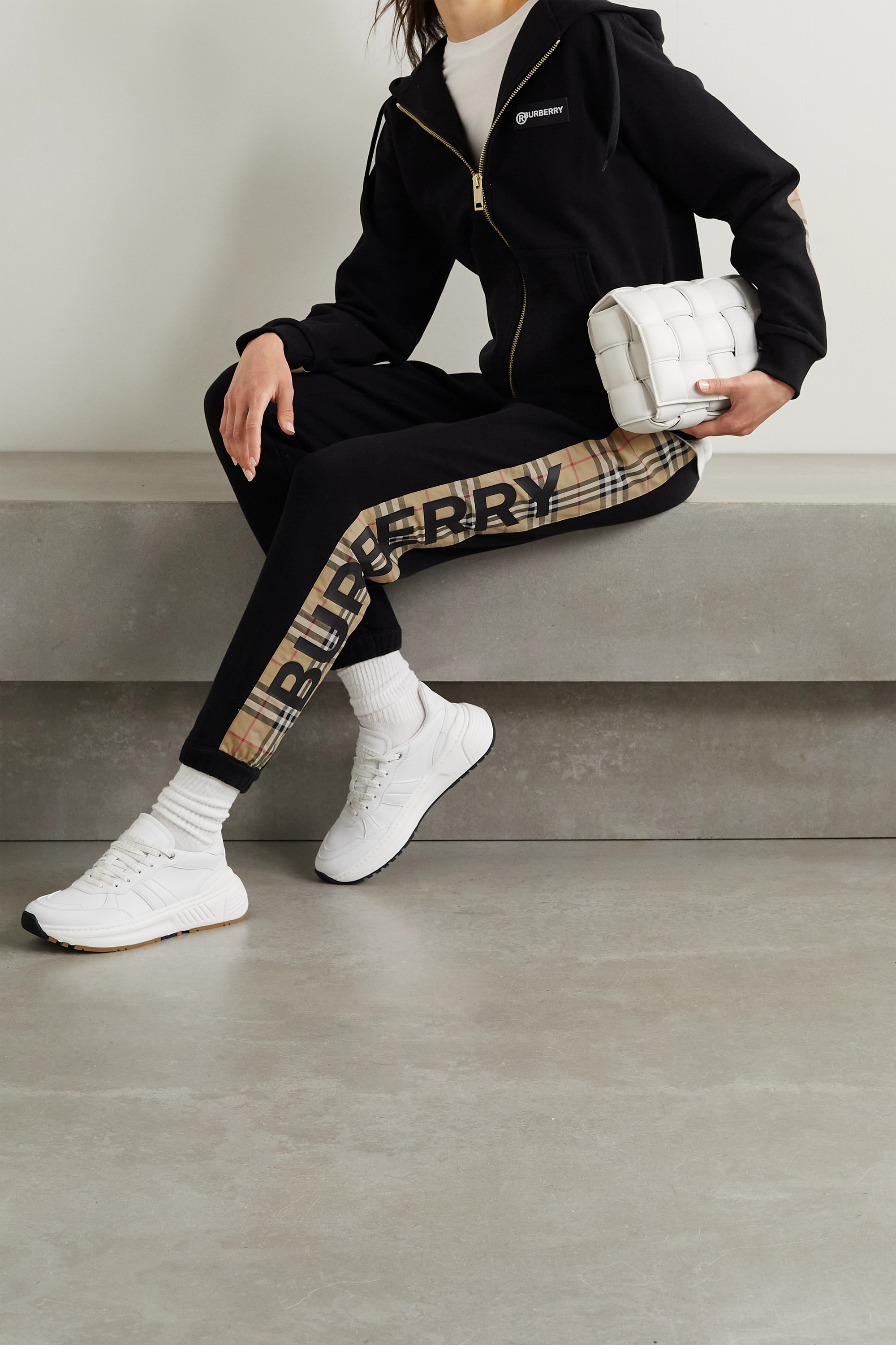Burberry Paneled checked cotton-jersey track pants