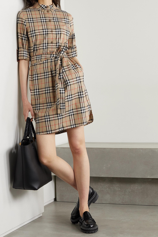 Burberry + NET SUSTAIN belted checked cotton-blend poplin mini shirt dress