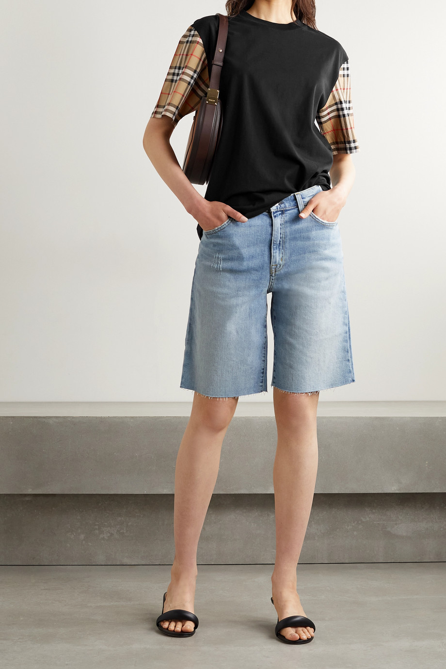 Burberry + NET SUSTAIN checked poplin-trimmed cotton-jersey T-shirt