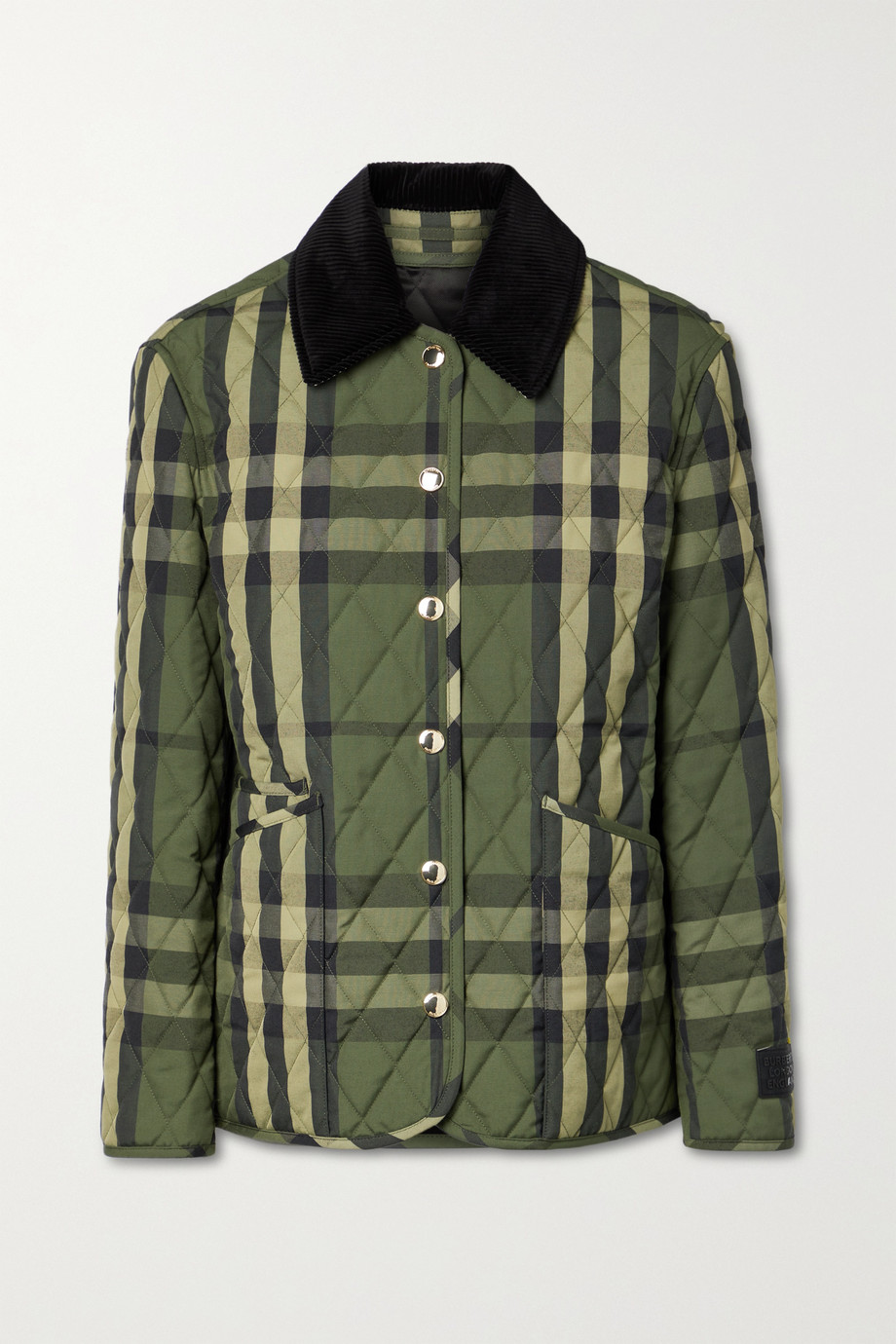 Burberry Corduroy-trimmed quilted checked woven jacket