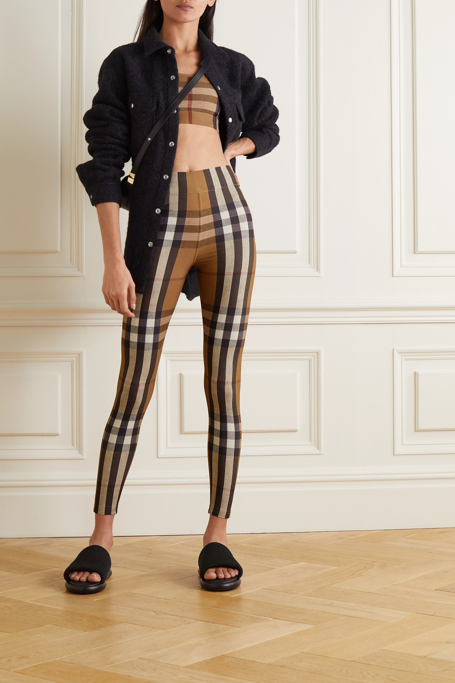 Burberry Cropped checked stretch-jersey top