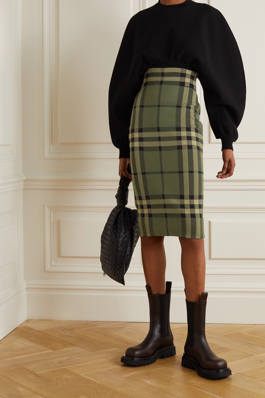 Burberry Checked cotton-blend skirt