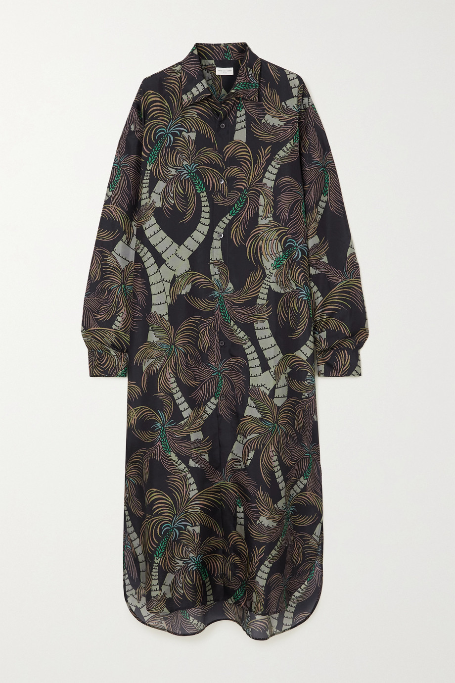 Dries Van Noten Cayley printed silk crepe de chine maxi shirt dress