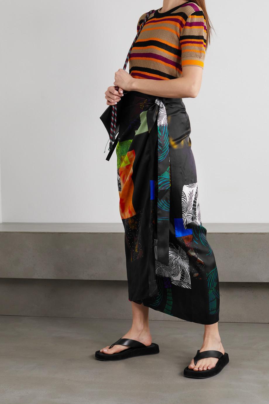 Dries Van Noten Sand printed satin-twill wrap midi skirt