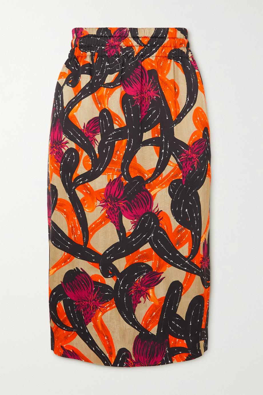 Dries Van Noten Solidos shirred printed poplin skirt