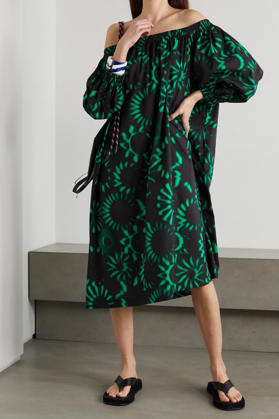 Dries Van Noten Duralas oversized printed off-the-shoulder cotton-poplin dress