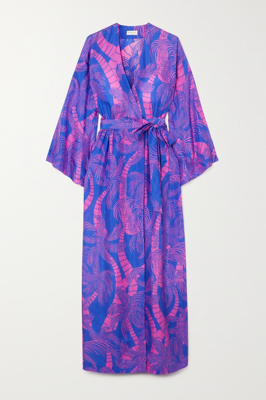 Dries Van Noten Robe longue portefeuille en soie imprimée à ceinture Doosey