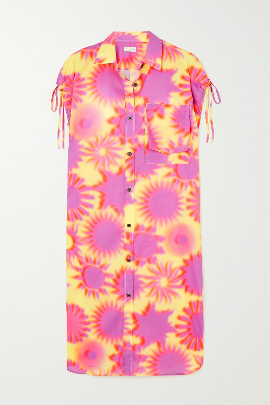 Dries Van Noten Dantia Mini-Hemdblusenkleid aus bedruckter Baumwollpopeline mit Raffungen