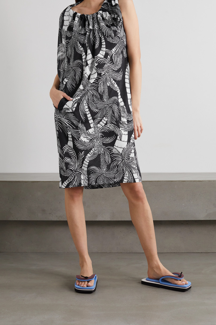 Dries Van Noten Gathered printed cotton-jersey dress