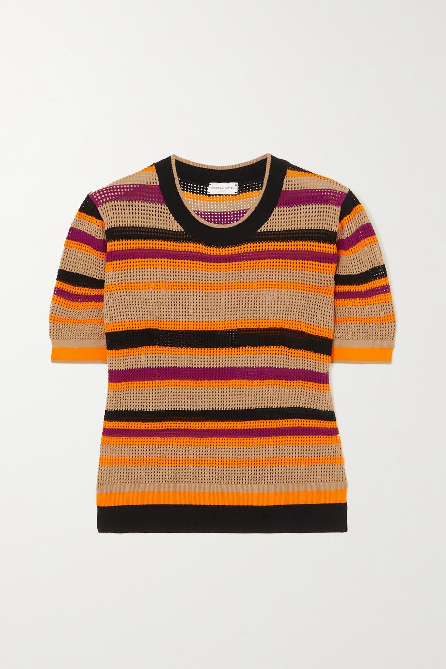 Dries Van Noten Striped mesh T-shirt