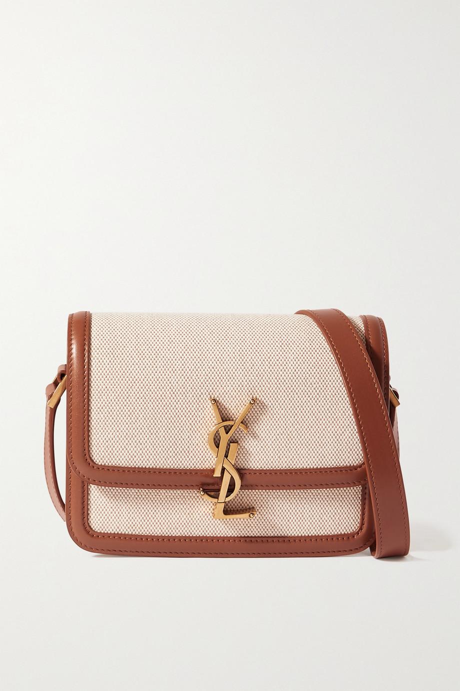 SAINT LAURENT Sac porté épaule en toile de coton et en cuir Solferino Small