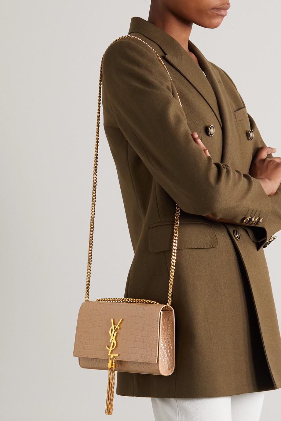 SAINT LAURENT Sac porté épaule en cuir glacé effet croco Kate Small
