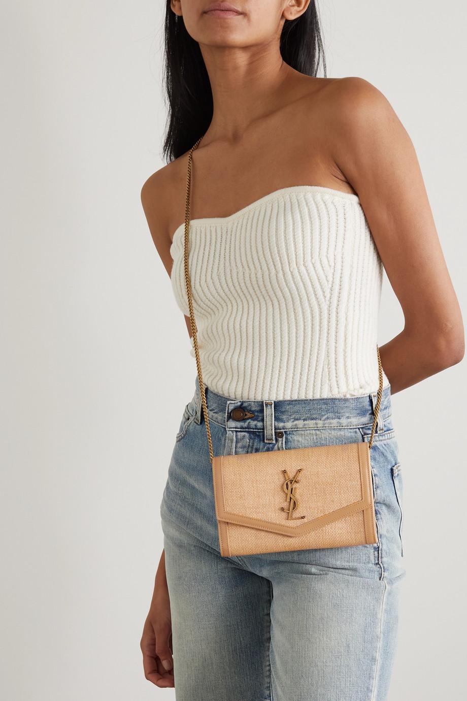 SAINT LAURENT Uptown leather-trimmed raffia shoulder bag