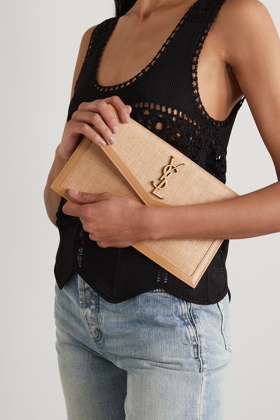SAINT LAURENT Uptown leather-trimmed raffia pouch