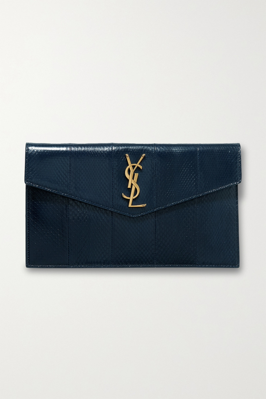 SAINT LAURENT Uptown snake-effect leather pouch