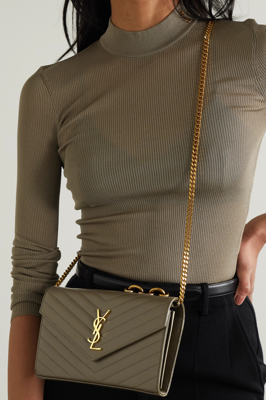 SAINT LAURENT Sac porté épaule en cuir texturé matelassé Monogramme Mini