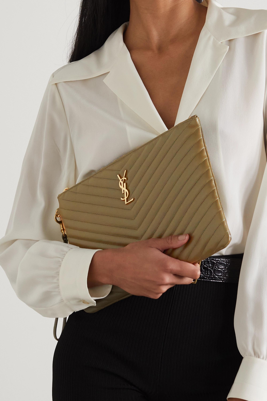 SAINT LAURENT Monogram quilted leather pouch