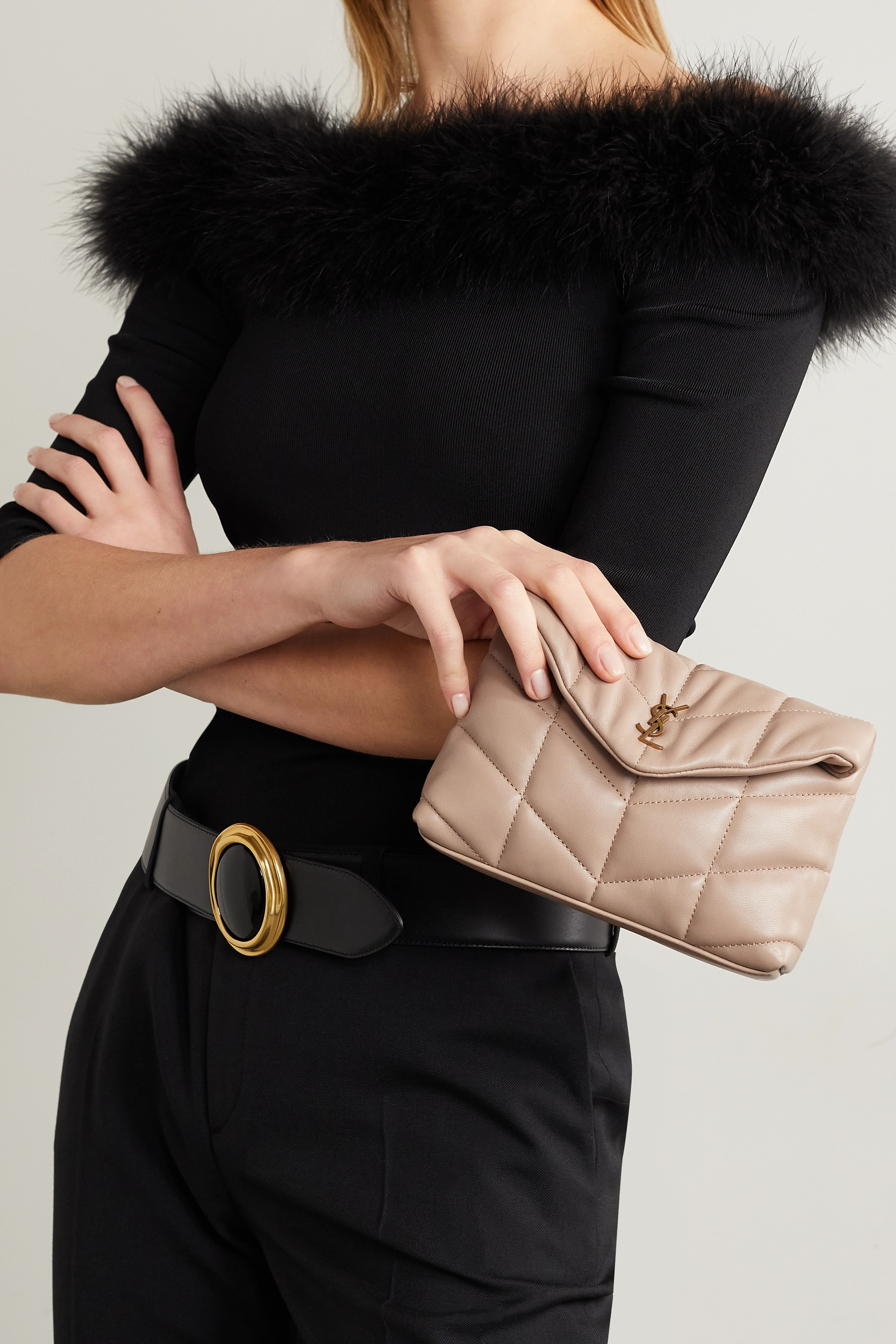 SAINT LAURENT Monogramme small quilted leather clutch