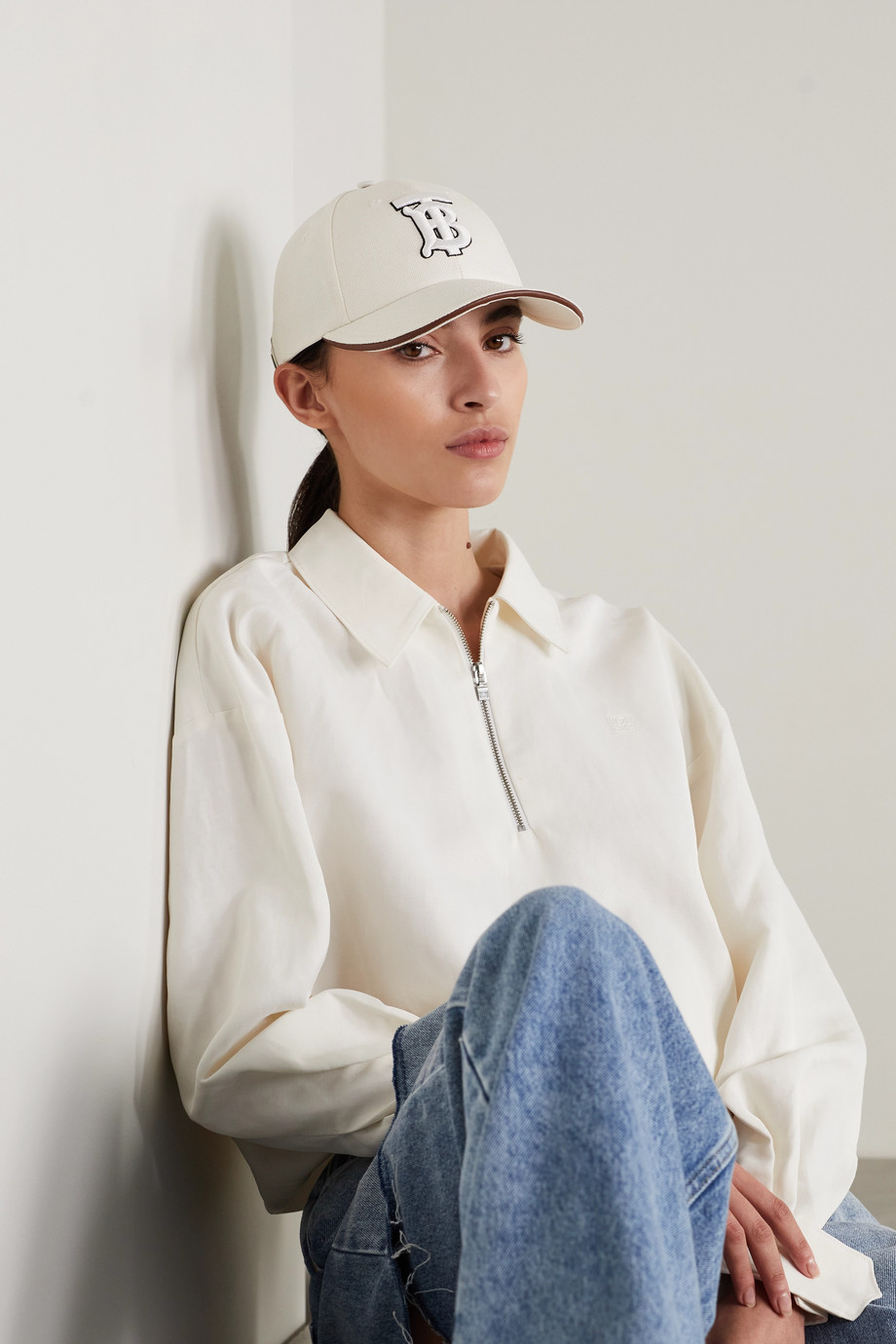 Burberry Leather-trimmed embroidered cotton and linen-blend canvas baseball cap