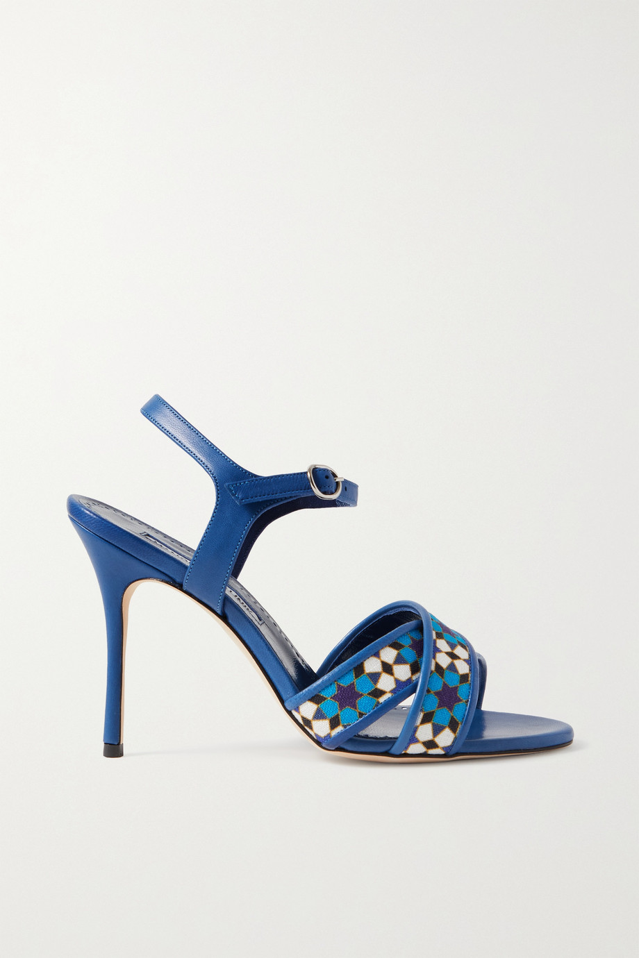 Manolo Blahnik Talitha printed linen and leather sandals