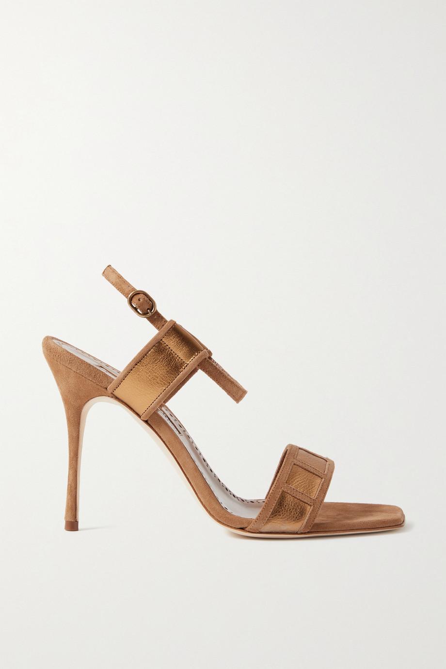 Manolo Blahnik Pitona metallic leather-trimmed suede sandals