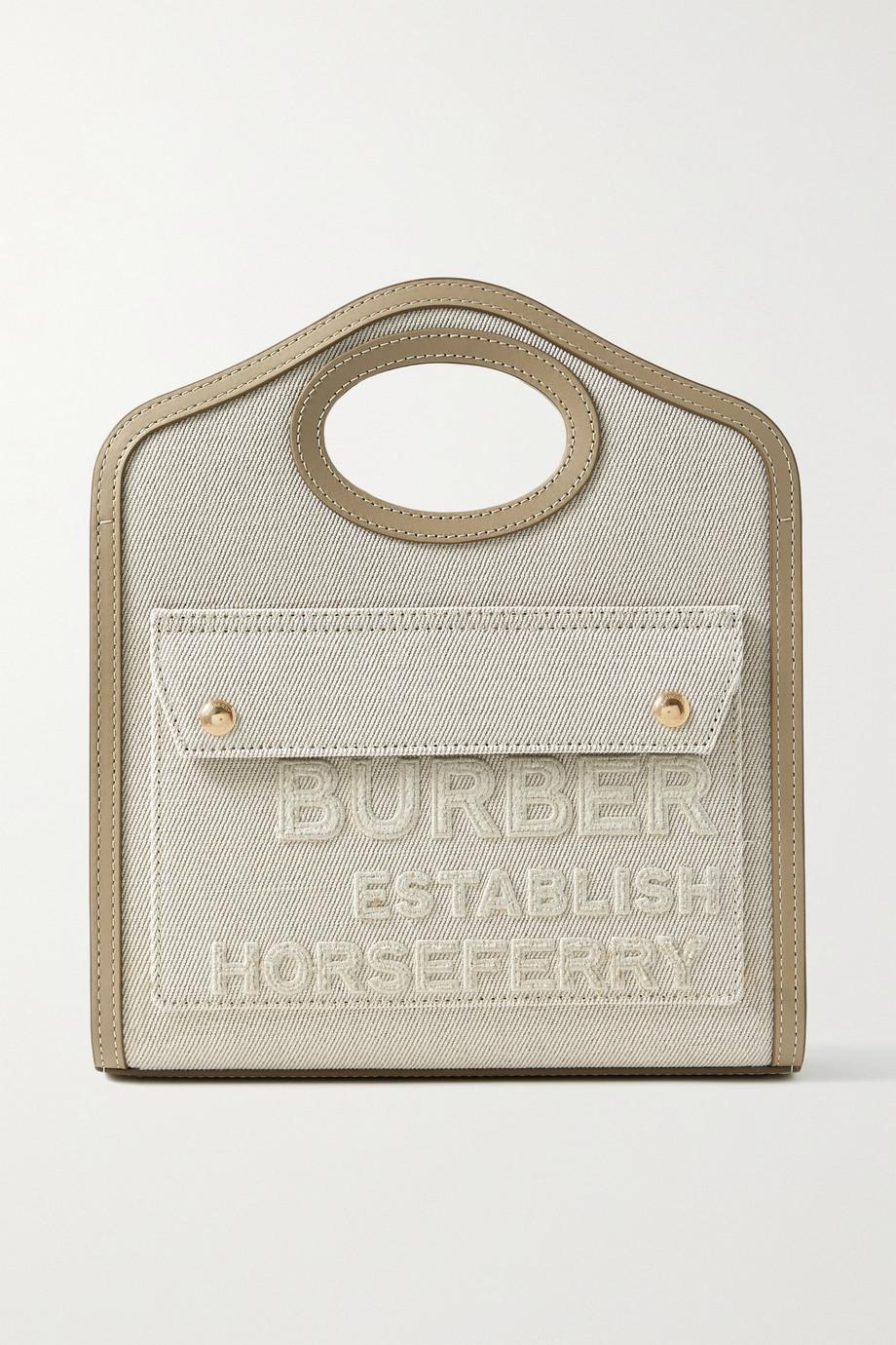 Burberry Mini leather-trimmed appliquéd canvas tote