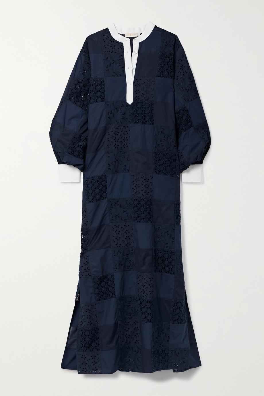 Tory Burch Robe longue oversize en broderie anglaise de popeline de coton et en dentelle