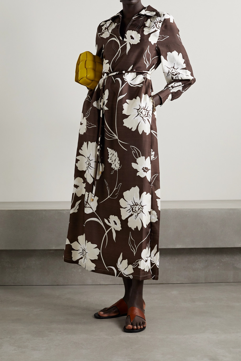 Tory Burch Robe midi en soie doupion à imprimé fleuri