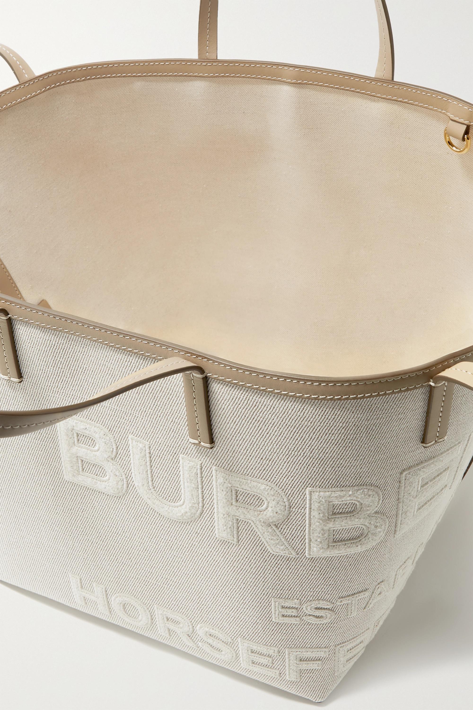 Burberry Leather-trimmed appliquéd linen and cotton-blend canvas tote