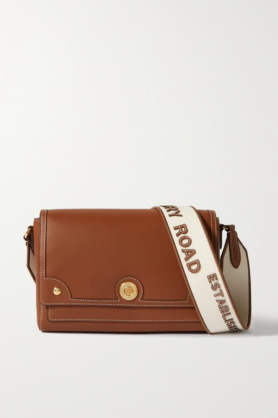 Burberry Small canvas-trimmed leather shoulder bag