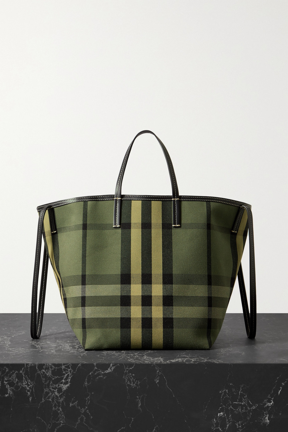 Burberry Leather-trimmed checked cotton-canvas tote