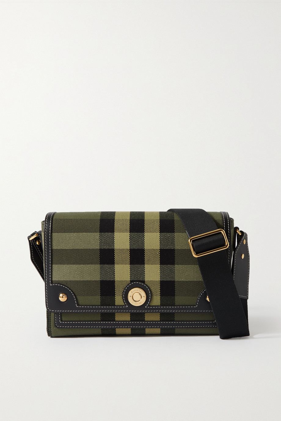 Burberry Leather-trimmed checked canvas shoulder bag