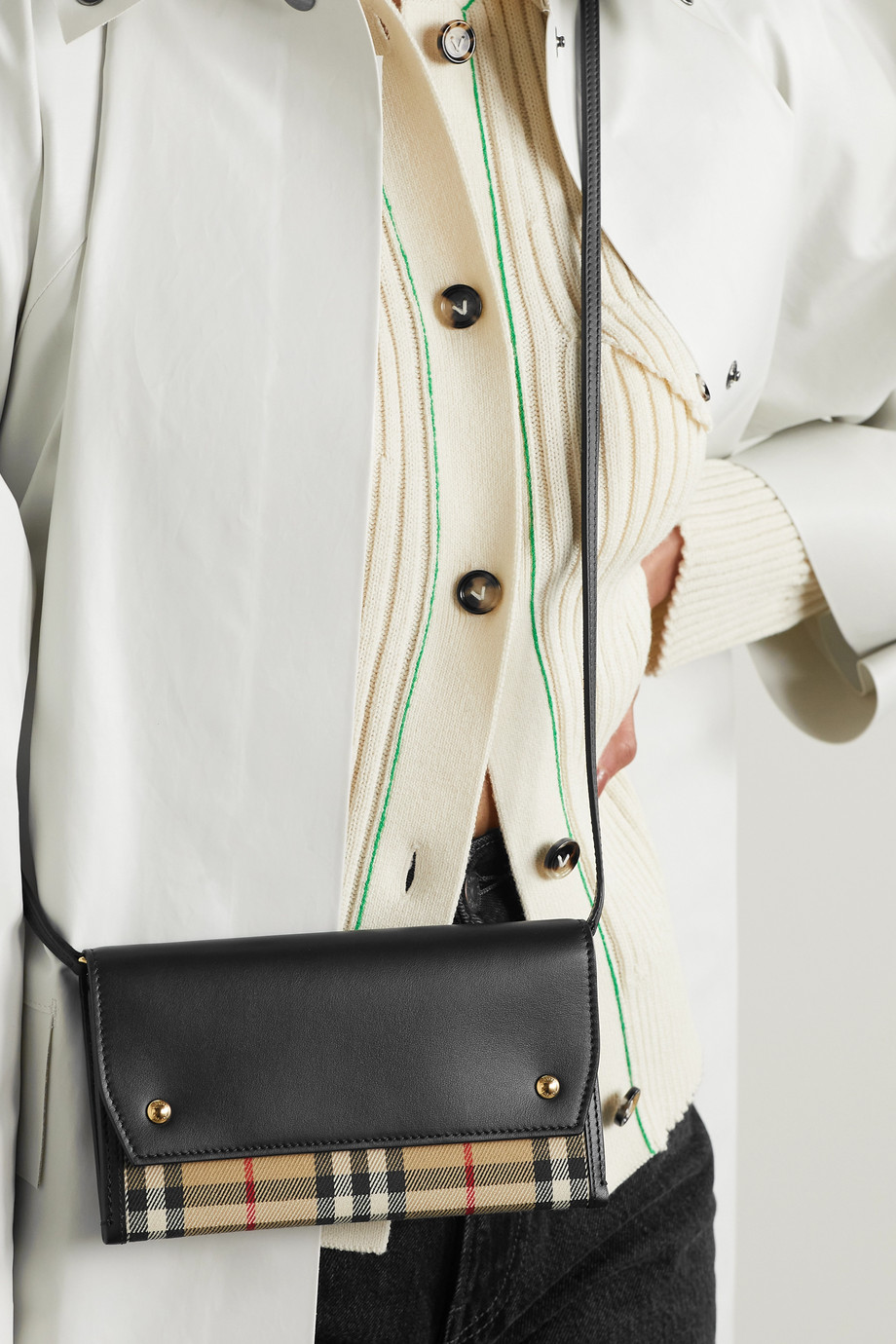 Burberry Leather and checked canvas shoulder bag