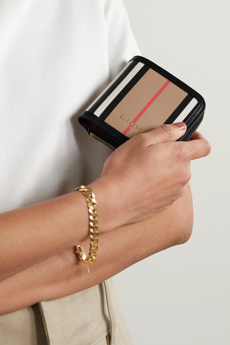 Burberry Leather-trimmed striped coated-canvas wallet