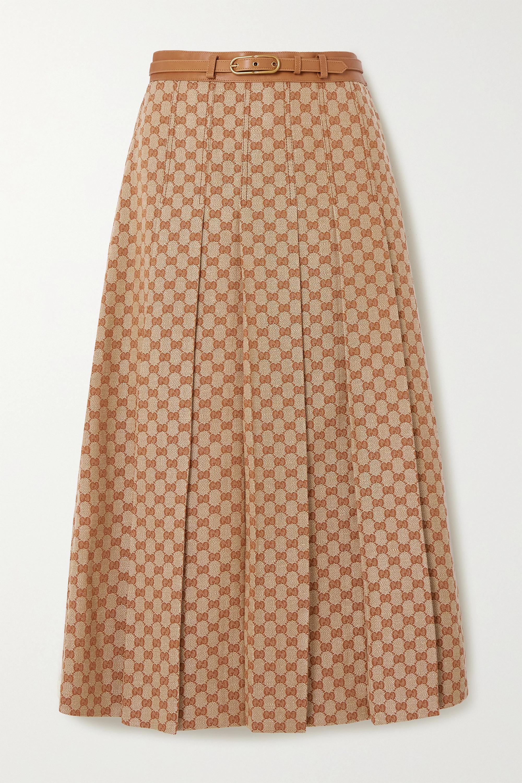 Gucci Belted leather-trimmed linen-blend jacquard midi skirt