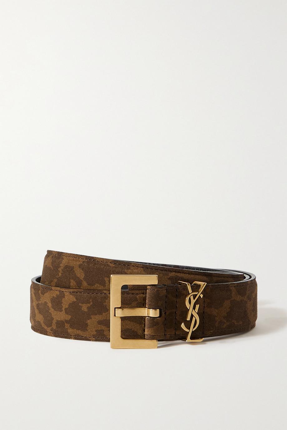 SAINT LAURENT Monogramme leopard-print suede belt