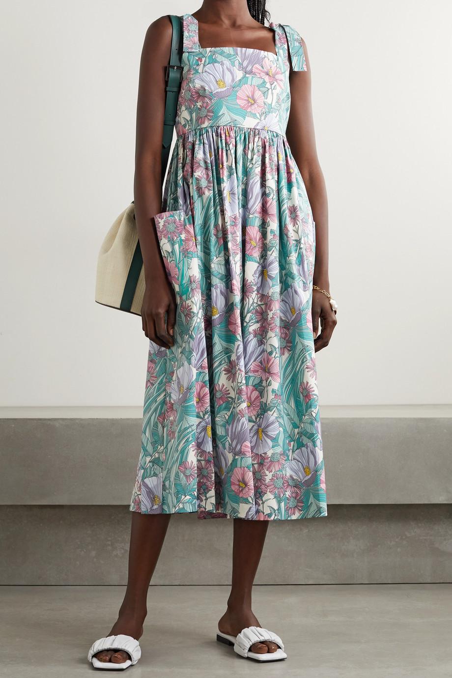 Tory Burch Floral-print cotton-blend poplin midi dress