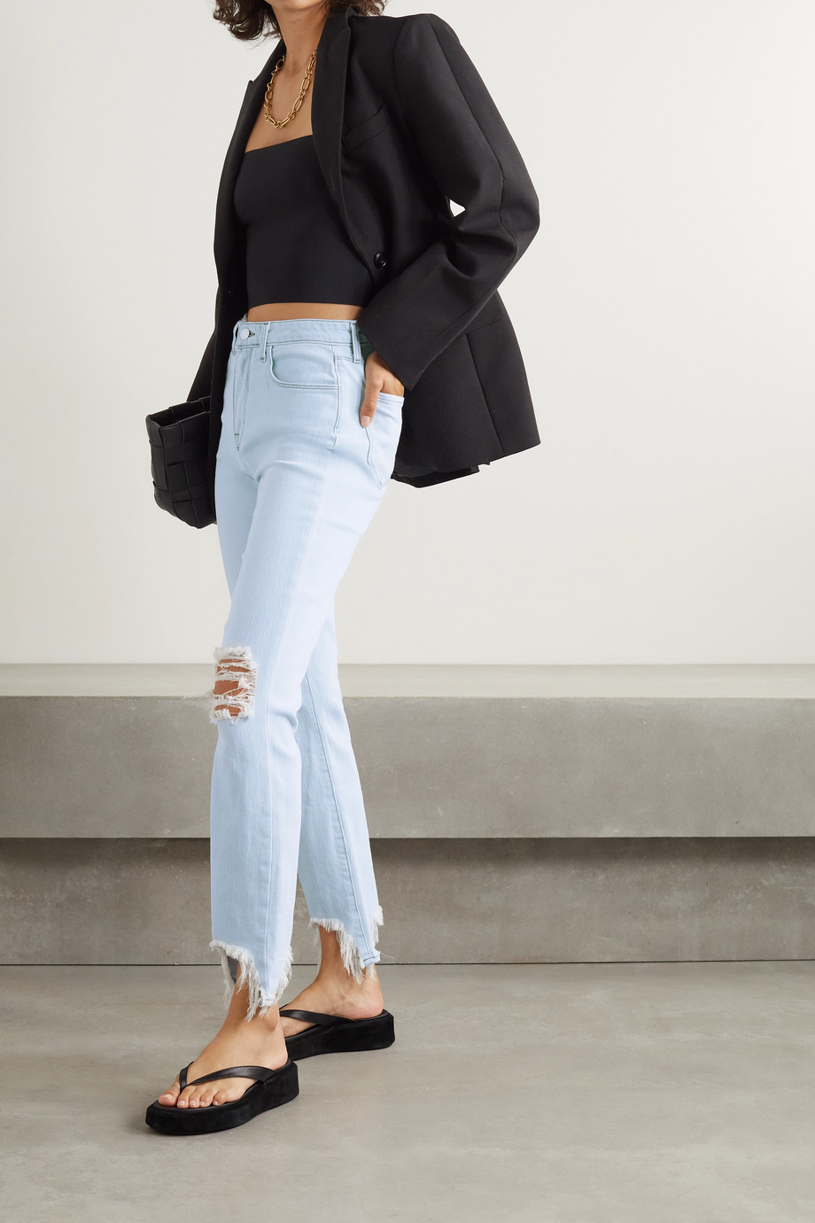 L'Agence High Line distressed high-rise skinny jeans