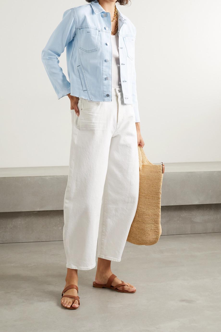 L'Agence Janelle cropped frayed stretch-denim jacket